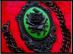 Your place to buy and sell all things handmade Cameo Necklace, Cameo Pendant, Green Rose, Dark Beauty, Dark Fashion, Looking Stunning, Pretty Flowers, Gothic, Chain