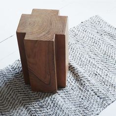 Cross Solud Wood Stool - Graham & Green