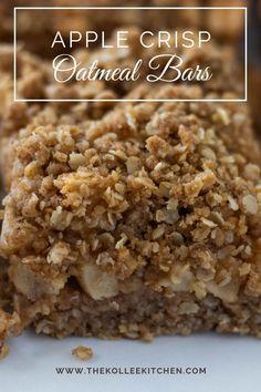 Oatmeal Bars Healthy, Breakfast Bars Healthy, Oatmeal Breakfast Bars, Breakfast Dishes, Apple Crisp With Oatmeal, Apple Cinnamon Oatmeal, Apple Desserts, Delicious Desserts, Yummy Food
