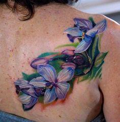 Blue Orchid Flower Tattoo - Phil Garcia - The Best Flower Tattoos Blue Orchid Tattoo, Watercolor Orchid Tattoo, Blue Orchid Flower, Orchid Flower Tattoos, Flower Tattoo Back, Blue Orchids, Back Tattoo, Tattoo Flowers, Lotus Flowers