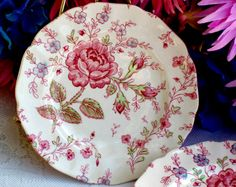 Rose Chintz by Johnson Brothers - Hang two on each side of the London Bus print for Spring?
