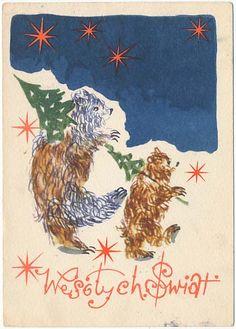 Stec Wesołych Świąt Niedźwiedź Polish Christmas, Christmas Cards, Old Postcards, Rooster, Poland, Illustration, Animals, Weddings, Vintage