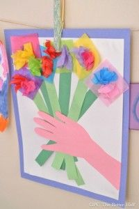 #4 – A Bouquet of Flowers Special delivery! These gorgeous paper flowers are incredibly easy and inexpensive to put together, you'll want to create them for all of your family members! Have the kids help pick out the colors and the message they want to write on the card! Source: One Project Closer