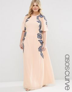 ddda4eb5ac628 Image 1 of ASOS CURVE Embellished Flutter Sleeve Maxi Dress Plus Size  Sequin Dresses