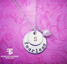 Personalize your silver FEARLESS necklace by adding an initial and a birthstone or pearl! ♥ Tell me in the Notes to Seller box upon check-out