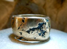 Special Order JAY Bronze Precious Metal Ring Band Layered Natural Irregular Edges Unisex Mens Lady on Etsy, $125.00