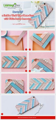 Tutorial on How to DIY a Fashion Washi Tape Phone Case with White Pearls Decorated from LC.Pandahall.com    #pandahall