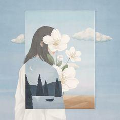 To Travel Far Away with / Digital Painting Kunst Inspo, Art Inspo, Cartoon Kunst, Cartoon Art, Art And Illustration, Aesthetic Art, Aesthetic Anime, Korean Aesthetic, Korean Art