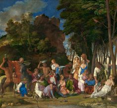 The Feast of the Gods is one of the greatest works of Renaissance art, illustrating a scene from Ovid's Fasti. It shows Greek gods eating and celebrating together in the woods  1. Artist: Giovanni Bellini; Titian 2. Created: 1514 3. Region: Italian Renaissance