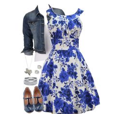 Blue Floral print by jamie-burditt on Polyvore featuring maurices, Chelsea Crew, Wet Seal and Saks Fifth Avenue