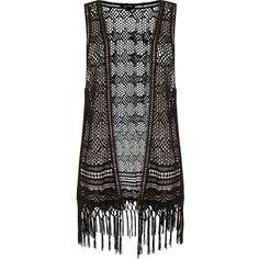 Black Crochet Fringed Hem Waistcoat ($14) ❤ liked on Polyvore featuring outerwear, vests, jackets, tops, cardigans, sleeveless waistcoat, black vest, black waistcoat, summer vest and macrame vest
