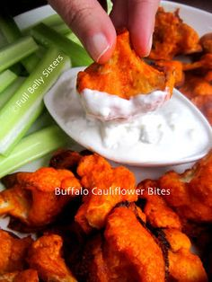 Full Belly Sisters: Buffalo Cauliflower Bites w. Yogurt Gorgonzola Dip for #MeatlessMonday. I made my own brown rice flour and skipped the butter.