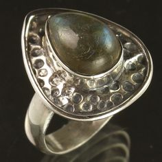 Indian Jewellery Ring Size US 7.25 Natural LABRADORITE Gems 925 Sterling Silver #Unbranded