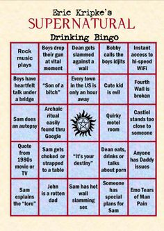 It's the supernatural drinking game! Supernatural Drinking Game, Supernatural Fandom, Castiel, Supernatural Crafts, Supernatural Birthday, Winchester Supernatural, Eric Kripke, Dc Anime, I Hope You Know
