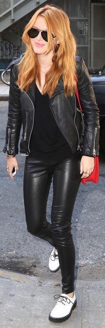 Black aviator sunglasses and leather jacket