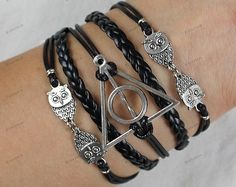 black rope bracelets with Hunger Games and owl mens by Emmajins, $6.99