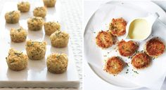 Easy muffin tin recipes: Mini Crab Cakes at Bon Appetit One Bite Appetizers, Appetizers For Party, Appetizer Recipes, Baked Crab Cakes, Mini Crab Cakes, Muffin Tin Recipes, Muffin Tins, Bite Size, Bon Appetit