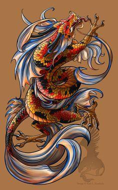 fantasy koi dragon | Koi Dragon tattoo by ~YamiGriffin on | http://awesometattoophotos.blogspot.com