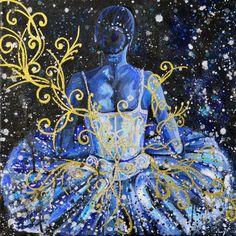 Ballet tutu acrylic painting Blue Ballet by rachelledyer on Etsy
