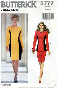 90s Butterick 5777 Fitted COLOR BLOCK DRESS Pattern Top Skirt