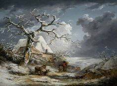 Winter Landscape with Peasants and Donkeys,  George Morland (1763 — 1804)