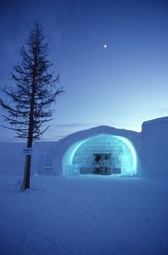 Ice hotel in Sweden.They say you sleep here very well!!