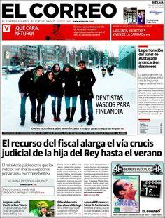 Los Titulares y Portadas de Noticias Destacadas Españolas del 6 de Abril de 2013 del Diario El Correo ¿Que le parecio esta Portada de este Diario Español?