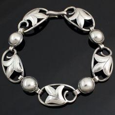 Georg Jensen Sterling Silver/925 Flower Link Bracelet