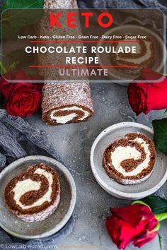 This contains: 3 chocolate roulade on a grey plates with roses in between