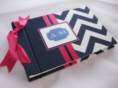Cute Guest Book ... Navy Chevron in Fuchsia by creativelykept, via Flickr