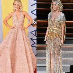 Carrie Underwood, dominou a noite e usou vários vestidos lindos. Todavia, os melhores foram o rosa volumoso com paetes, de #michaelcinco. E o dourado com paetes, marcado com laço, de #labourjoisie.⭐ #glamourous #carrieunderwood #fashionstyle #cmaawards #nashville