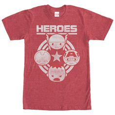 Keep your favorite superheroes by your side with the Marvel Avengers Heroes Heather Red T-Shirt! A distressed white print on the front of this awesome red Avengers T-shirt reads Heroes with Thor, Iron Man, Captain America, and the Hulk  below.