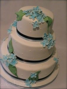 Blue Hydrangea Wedding Cake - Cakes by Erin