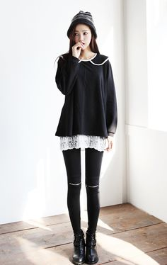 The longer flowy shirt underneath a thing sweater is popular right now it seems #Kpop #style #fashion