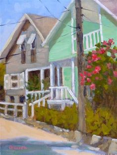 """Daily Paintworks - """"Hope Town Houses"""" - Original Fine Art for Sale - © Colleen Parker"""