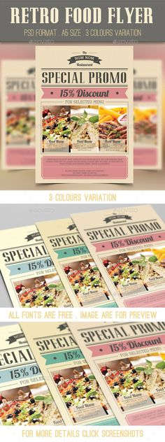 Retro Food Flyer It is a retro food flyer for your restaurant, cafe etc menu promotion purposes. Available on PSD format, all you need to do is just put image, change the text and put your logo. You can easily change the colour too.