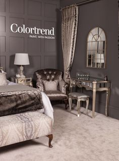 By Aspire Design & Perfect Headboards Ideal Home, Living Room Paint, Best Gray Paint, Ideal Home Show, House Interior, Home Interior Design, Grey Room, Trending Paint Colors, Interior Design Work