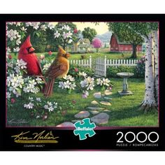 The chirpy delightful tunes of the two musicians depicted in this Country Music 2000-piece jigsaw puzzle by Buffalo Games will transcend the lovely countryside background that makes this puzzle so calming. This puzzle is part of the Art & Photo series. The finished puzzle has a size of 38.5 inches x 26.5 inches.Buffalo Games' jigsaw puzzles and the packaging use 100% recycled material with 90% post-consumer content. Proudly made in the U.S.A. The pieces are cut from thick graphic boar...