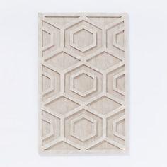 Whitewashed Wood Wall Art - Hexagon | west elm