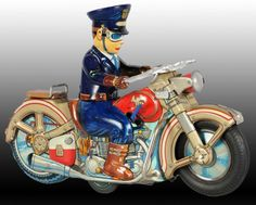Lot # : 1496 - Japanese Alps Tin Highway Patrol Motorcycle Toy.