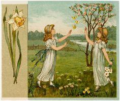 Antique Flower Children Image! - The Graphics Fairy