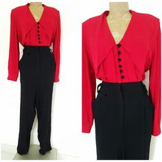Vintage 80s Pleated Jumpsuit Size Large Pointed Collar Pantsuit Career Red Black #Menu #Jumpsuit