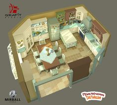 The Adventures of Talasha by Grafit-art 3d Interior Design, Interior Concept, Kitchen 3d Model, Japon Tokyo, Isometric Art, Animation Reference, Animation Background, Drawing Skills, Environmental Art