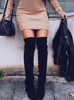 Pinterest: @//dejamciver every chick needs this outfit, leather jacket knee high boots and sexy tight dress great staples
