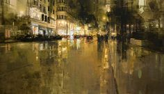 San Francisco - Jeremy Mann, Union Square In Yellow, Oil on Panel, 48 x 48 inches, 2012   sold