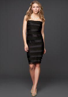 Bebe Layered Lace Satin Dress - Blk - 12