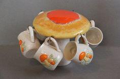 Ceramic Mushroom Mug Tree With 9 Mushroom Mugs, Retro 1970s Mushroom Decor, Mug Holder
