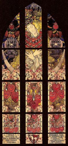 """Jozef Mehoffer """"Stained Glass Window Design"""", 1908, watercolour, gouache on paper"""