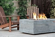 Board Formed Rectangular Fire Pit Outdoor Fire Pits Concrete Wave Design Santa Ana, CA