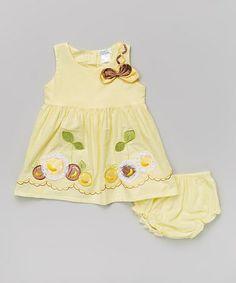 Look at this #zulilyfind! Yellow Cherry Dress & Diaper Cover - Infant #zulilyfinds